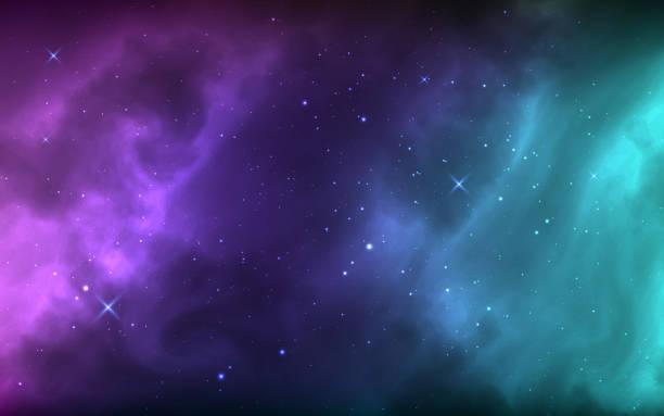 weltraumhintergrund mit leuchtenden sternen, nebel und sternenstaub. bunte kosmos mit realistischen galaxie und milchstraße. helle kosmische kulisse. sternentapete. vektor-illustration - milky way stock-grafiken, -clipart, -cartoons und -symbole
