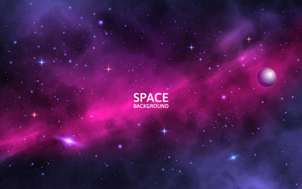 Space background with shining stars, stardust and nebula. Realistic cosmos. Colorful galaxy with milky way and planet. Vector illustration Space background with shining stars, stardust and nebula. Realistic cosmos. Colorful galaxy with milky way and planet. Vector illustration. space stock illustrations
