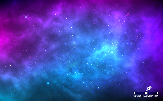 Space background with stardust and shining stars. Realistic colorful cosmos with nebula and milky way. Blue galaxy backdrop. Beautiful outer space. Infinite universe. Vector illustration