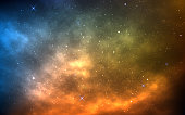 Space background with yellow and blue nebula. Realistic universe. Bright cosmic backdrop with milky way. Color galaxy with shining stars. Magic stardust. Vector illustration.