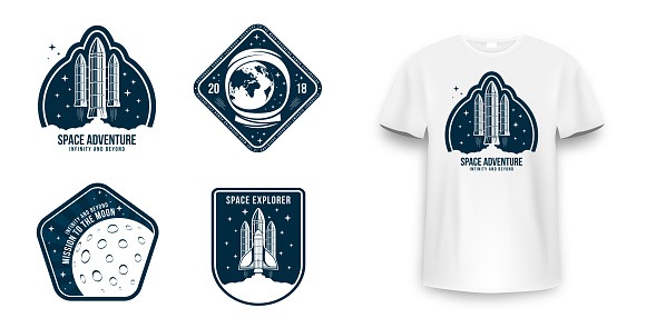 Space badge with spaceship, rocket launch and astronaut helmet. Vintage astronaut label, patch or embroidery for t-shirt print. T-shirt graphic in space concept