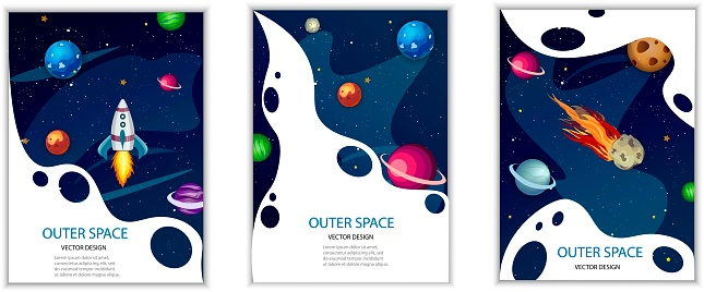 Space banners. Rocket, planets, comets. Set of vertical templates for cover, flyer, brochure. Universe, galaxy in cartoon style. Vector image.