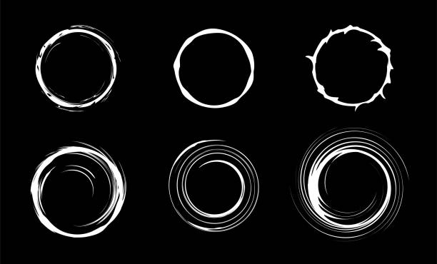 Space black hole set. Swirl abstract circles. Isolated vector illustration. vector art illustration
