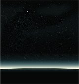 Starry sky background with curving horizon
