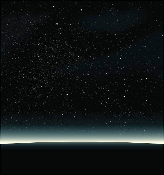 przestrzeń, czarny - horyzont stock illustrations