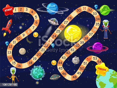 Space board game vector illustration. Rockets UFO and Aliens in space board game strategy kid