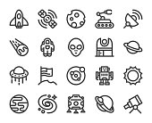 Space Bold Line Icons Vector EPS File.