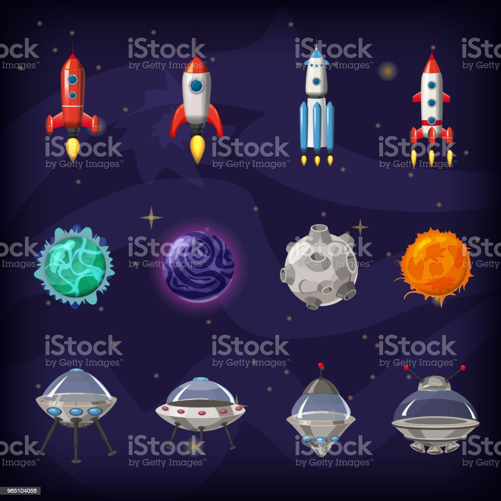 Space cartoon icons set. Planets, rockets, ufo elements on cosmic background, vector, isolated, cartoon style royalty-free space cartoon icons set planets rockets ufo elements on cosmic background vector isolated cartoon style stock vector art & more images of abstract