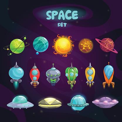 Space cartoon icons set
