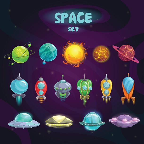 Space cartoon icons set vector art illustration