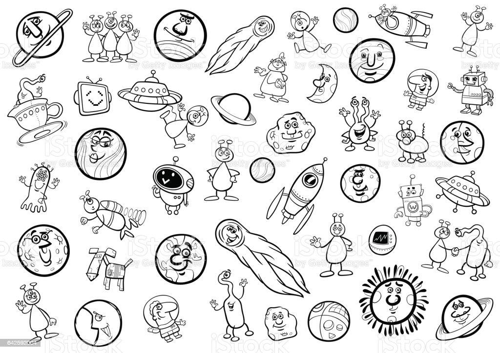 Ilustración de Espacio Historieta Juego Página Para Colorear y más ...
