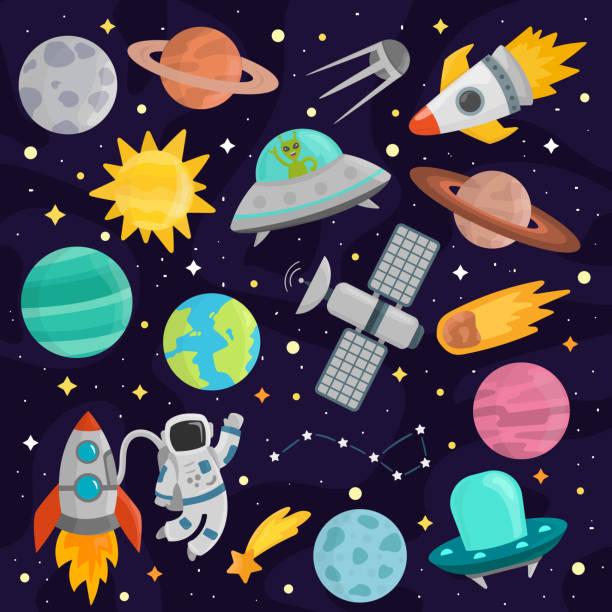 space cartoon set vector. - weltall stock-grafiken, -clipart, -cartoons und -symbole