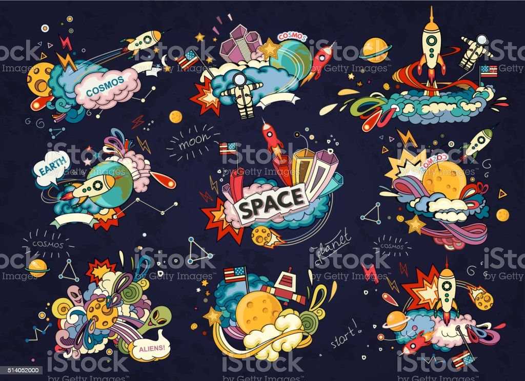 Space cartoon style vector art illustration