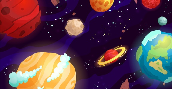 Space cartoon vector illustration. Galaxy, cosmos, universe elements for computer game, book for kids.