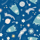 Space cat and spaceship pattern design. Cute seamless solar system repeat ideal for child and baby projects. Fun vector background with stars and planets.