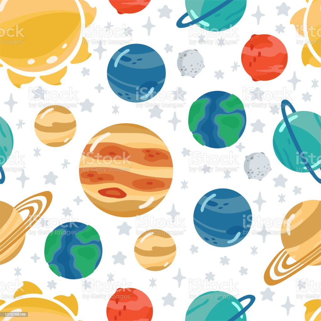 Space Childrens Seamless Pattern With Planets Rocket In Cartoon Style Cute Texture For Kids Room Design Wallpaper Textiles Wrapping Paper Apparel Vector Illustration Stock Illustration Download Image Now Istock