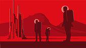 Alien landscape with FuturisticCity