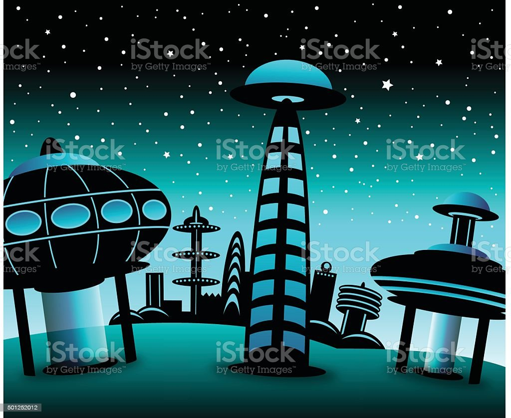 Space City vector art illustration