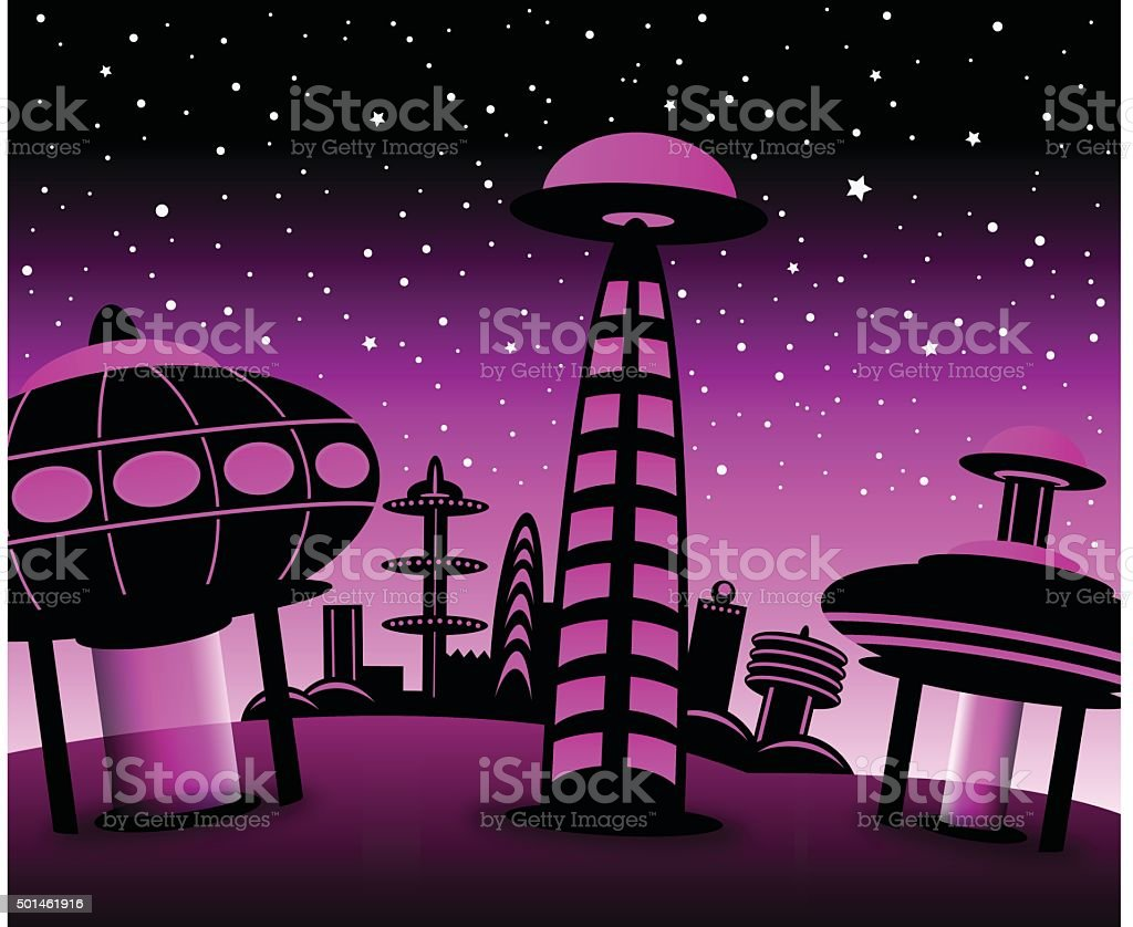 Space City (pink) royalty-free space city stock vector art & more images of alien