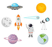 space collection with moon, sun, rocket, astronaut, planet, ufo and comet flat design isolated on white background