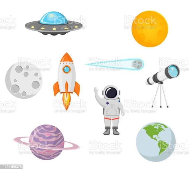 Space collection with moon sun rocket astronaut planet ufo and comet vector id1124455376?b=1&k=6&m=1124455376&s=612x612&h=gqt0v nlyafnzz3zckbcxuf tolxzf1h91s7ygct3xy=