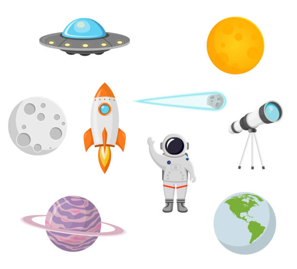 space collection with moon, sun, rocket, astronaut, planet, ufo and comet flat design isolated on white background - astronomy telescope stock illustrations
