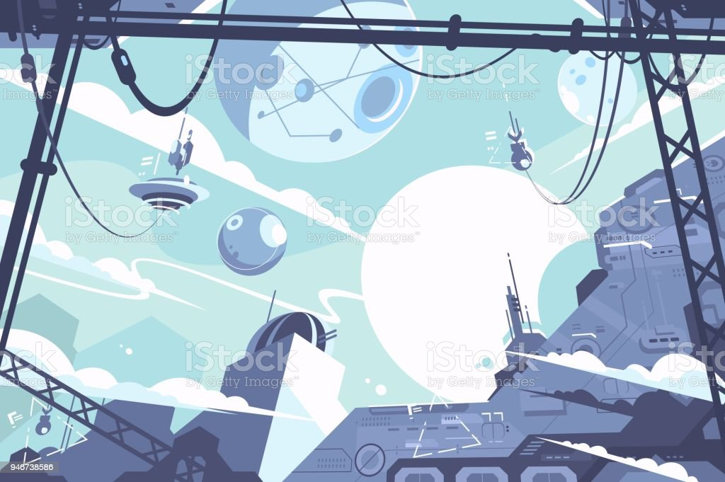 Raumkolonie mit Raketen und Stationen – Vektorgrafik