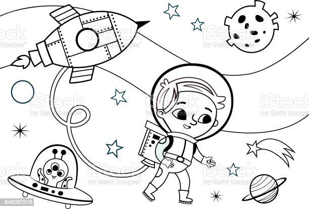space coloring page for kids vector id