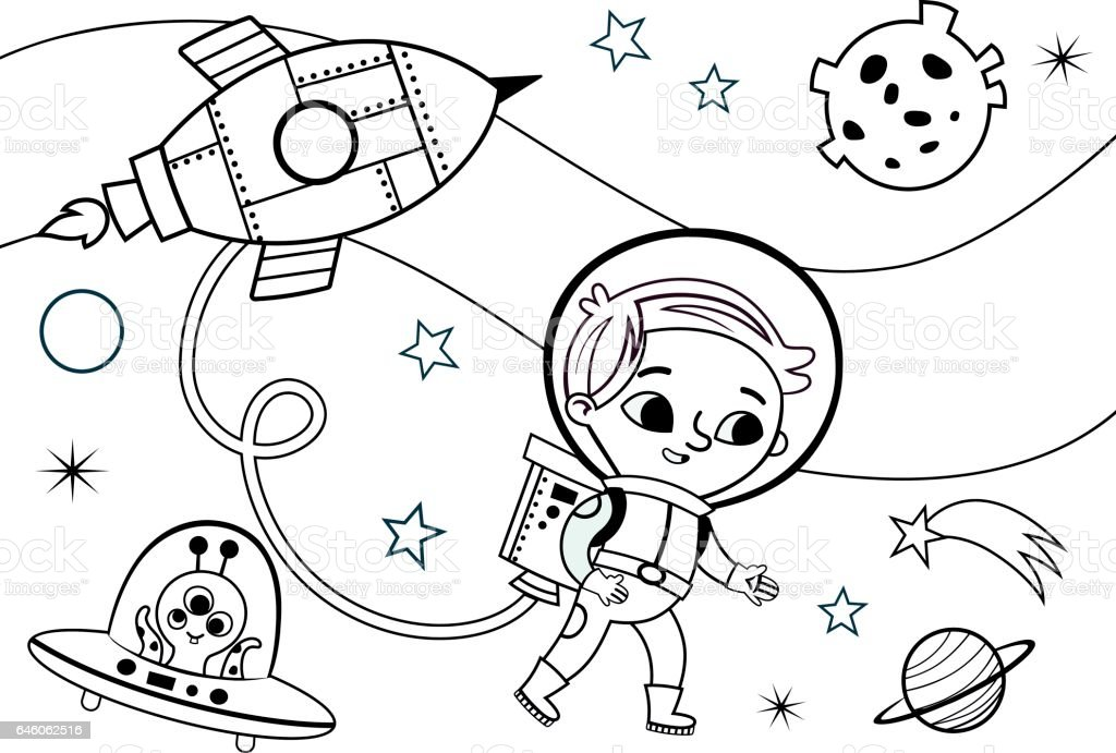 Space Coloring Page for Kids vector art illustration