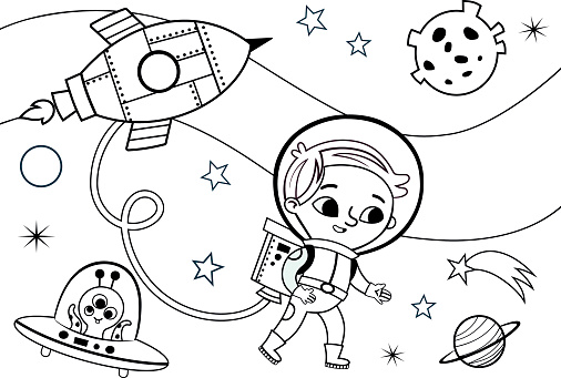 Space Coloring Page For Kids Stock Illustration