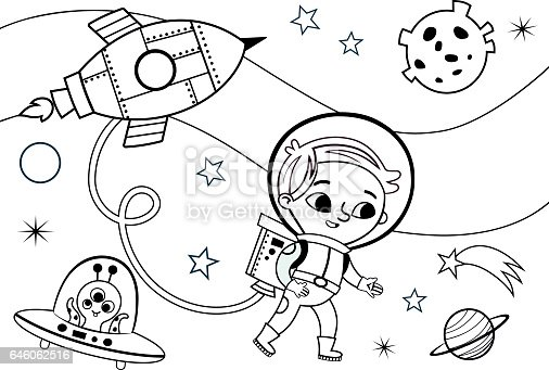 Space Coloring Page For Kids Stock Vector Art & More