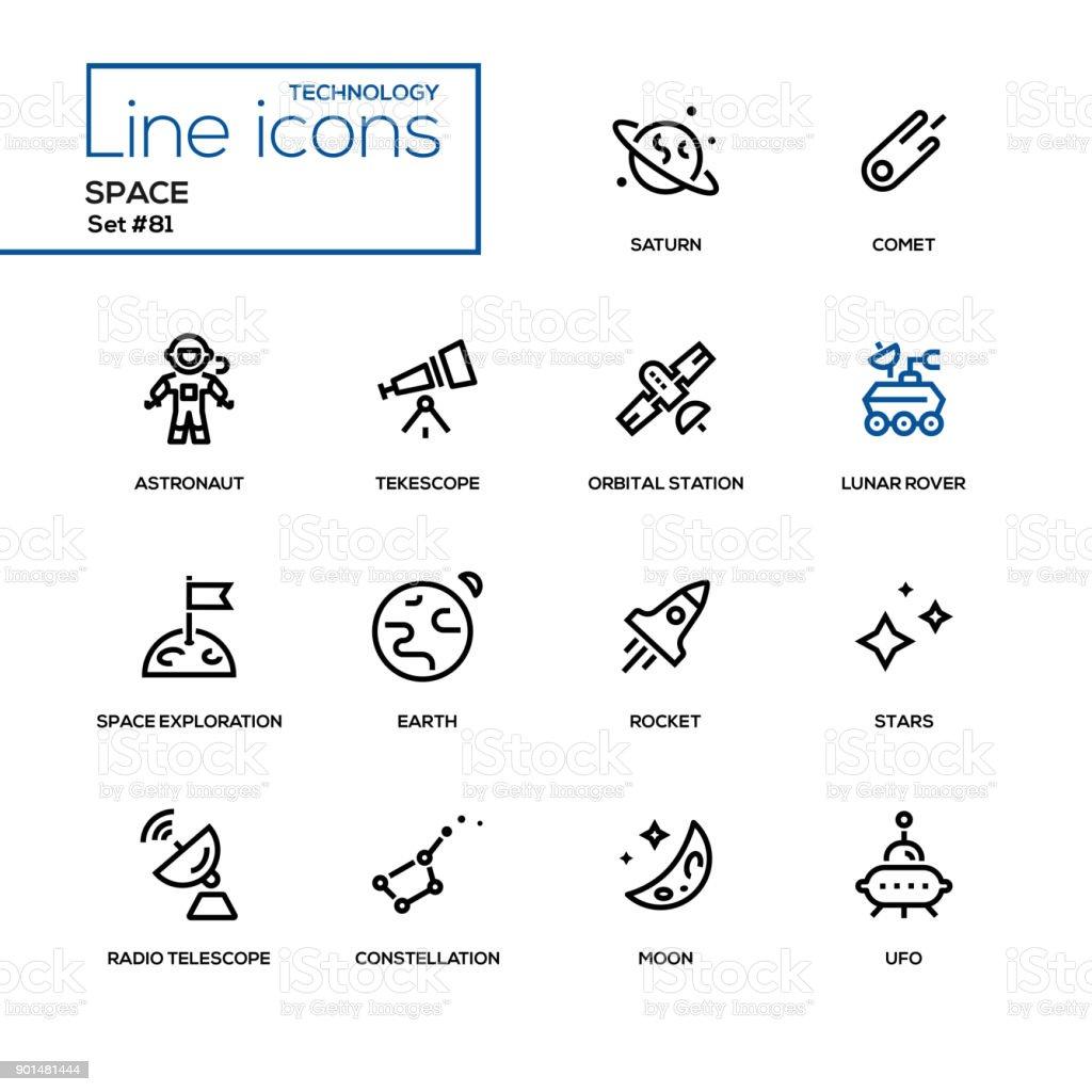 Concepto de espacio - conjunto de iconos de diseño de línea - ilustración de arte vectorial