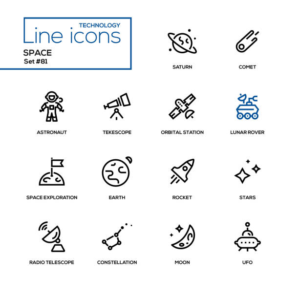 space concept - line design icons set - space exploration stock illustrations, clip art, cartoons, & icons