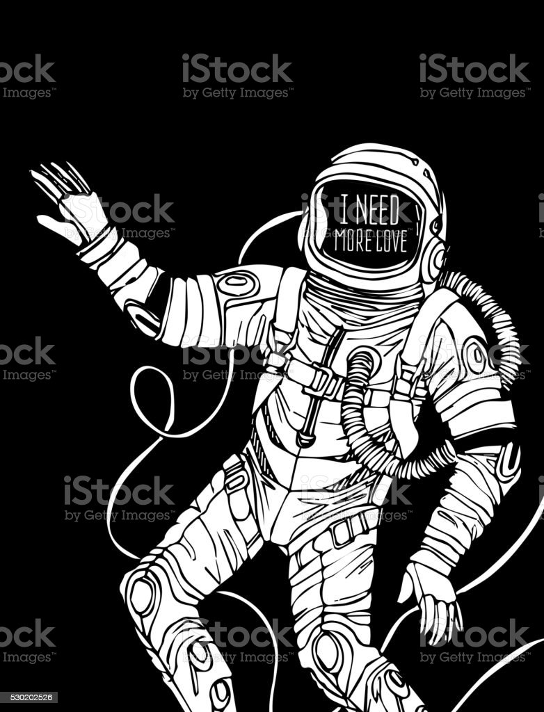 Espace comprenant Astronaute - Illustration vectorielle