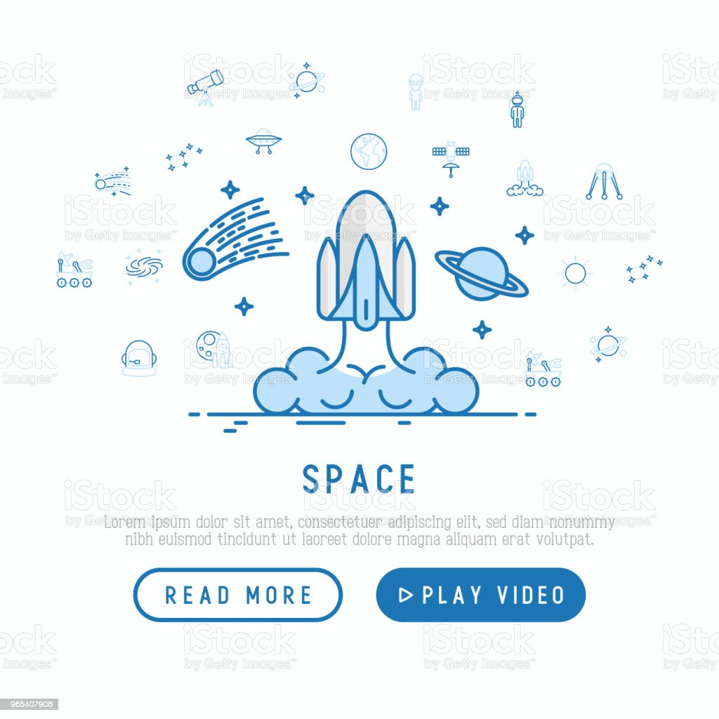 Space concept with thin line icons: rocket, Earth, lunar rover, space station, telescope, alien, meteorite. Modern vector illustration, web page template. space concept with thin line icons rocket earth lunar rover space station telescope alien meteorite modern vector illustration web page template - stockowe grafiki wektorowe i więcej obrazów astronauta royalty-free