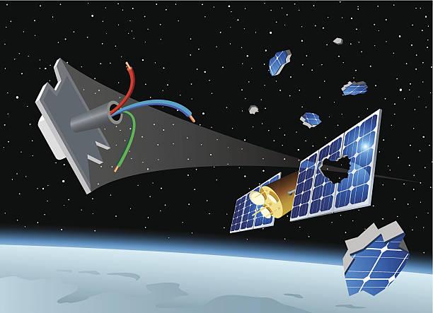 Space debris destroys the solar panel of a satellite vector art illustration