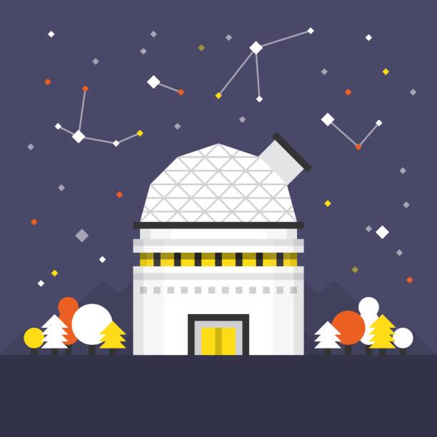 space dome flache abbildung - sternwarte stock-grafiken, -clipart, -cartoons und -symbole
