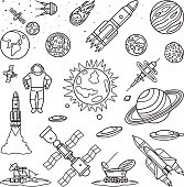 Space doodle linear icons