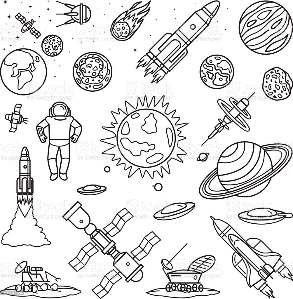 Space doodle linear icons vector art illustration