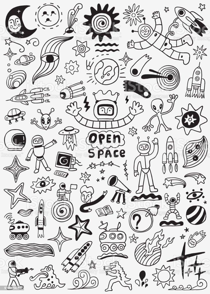 space doodle set vector art illustration
