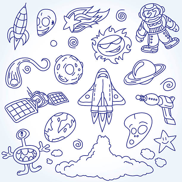 Space Doodles Set vector art illustration