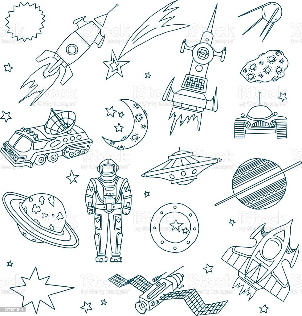 Space Doodles vector art illustration