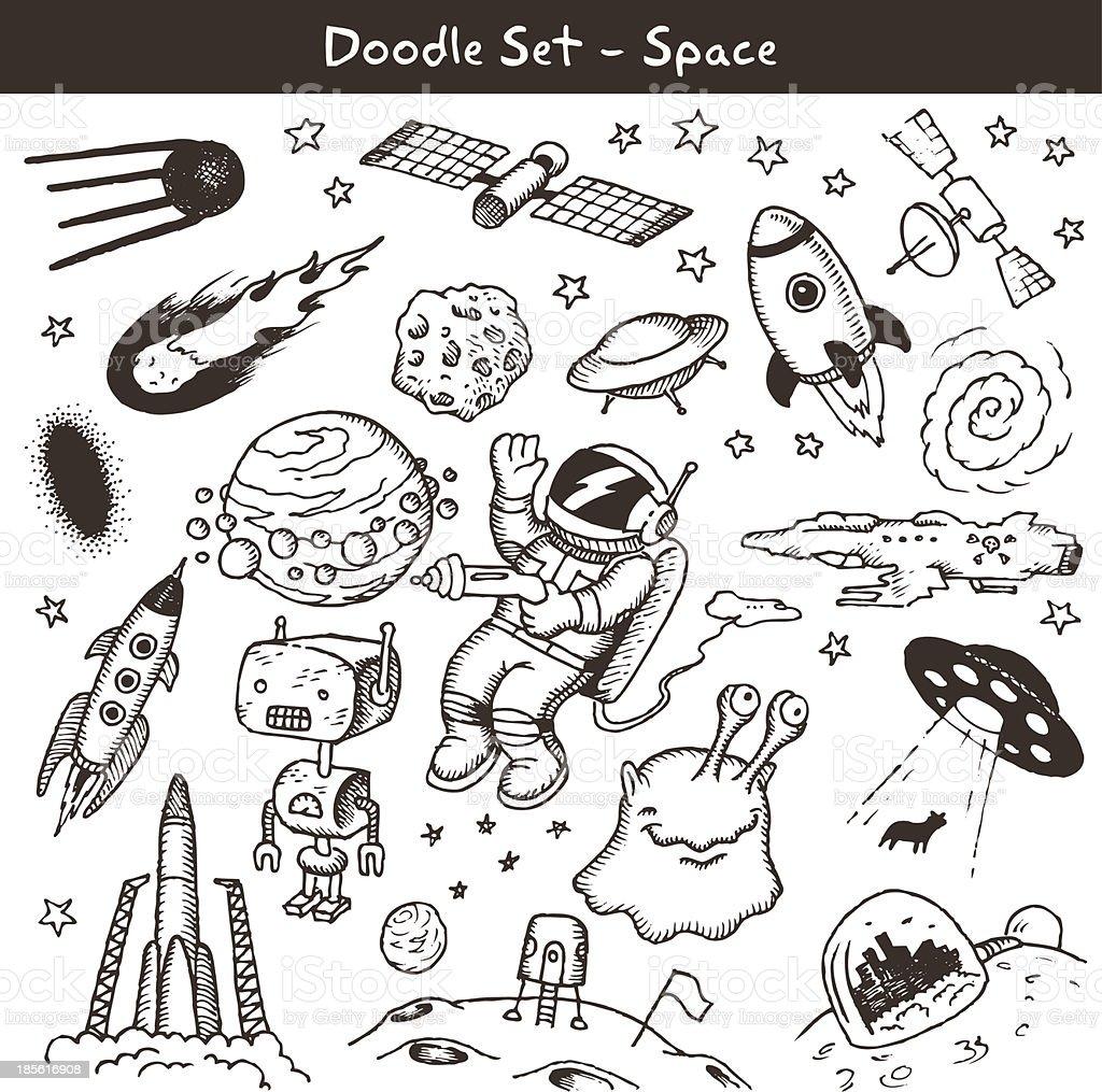 Space doodles -vector illustration. vector art illustration