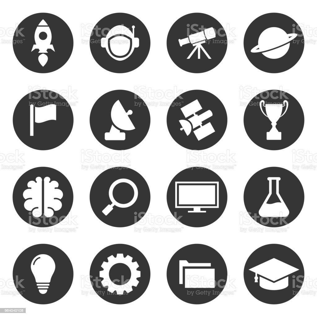 Space education simple icon set vector design - Royalty-free Abstract stock vector