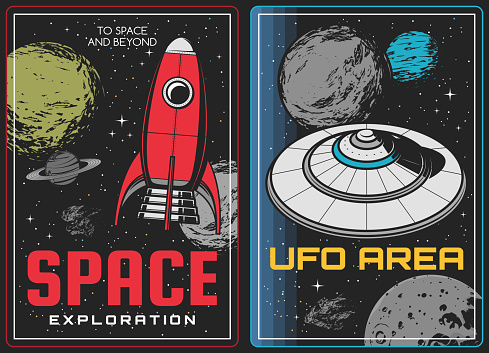 Space exploration and aliens discovery posters