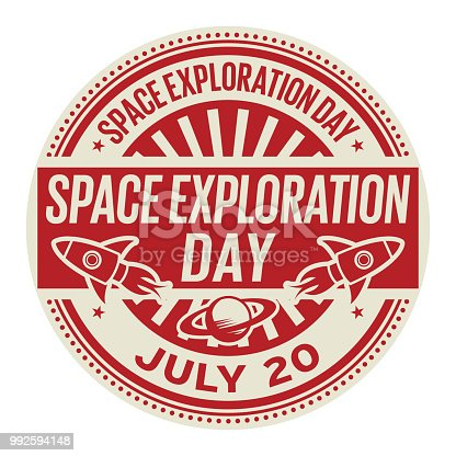 Space Exploration Day,  July 20, rubber stamp, vector Illustration