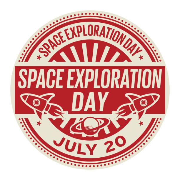 space exploration day, juli 20 - forschungsurlaub stock-grafiken, -clipart, -cartoons und -symbole
