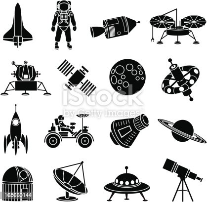 Vector icons with a space exploration theme.