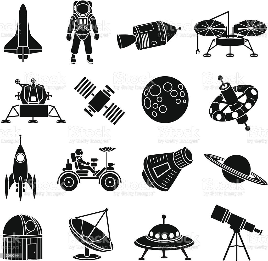 space exploration icons vector art illustration