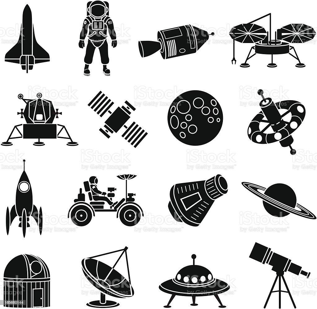Exploración espacial iconos - ilustración de arte vectorial